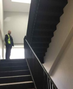 Metal staircrase installed for Tremmel Restoration - Blake Group