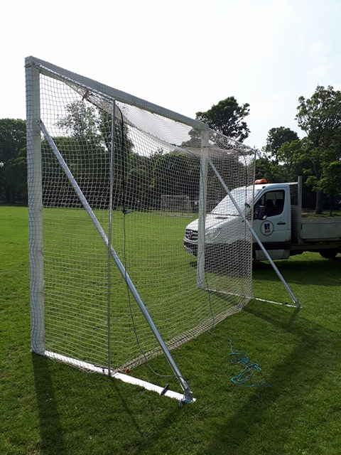 Portable shinty goals assembled