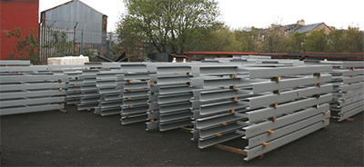 Walkway base sections at our Leith yard waiting to be delivered to the Queensferry Crossing