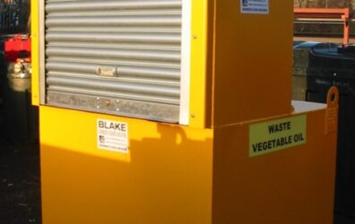 Large yellow waste vegetable oil steel storage tank for Bradford Council by Blake Group Edinburgh