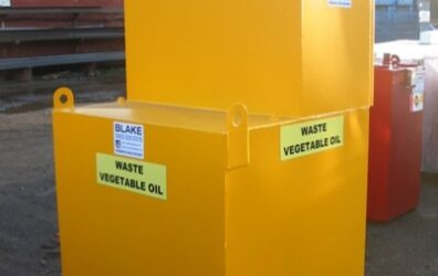 Large yellow waste vegetable oil storage tank for Bradford Council by Blake Group Edinburgh