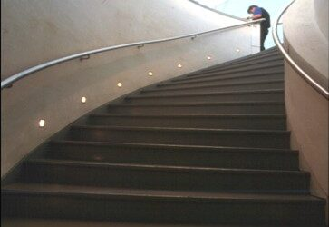 Dynamic Earth stairway - steel handrails by Blake Group