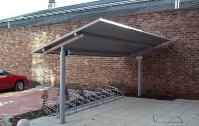 Steel bike rack shelter by Blake Group for Barratt Homes