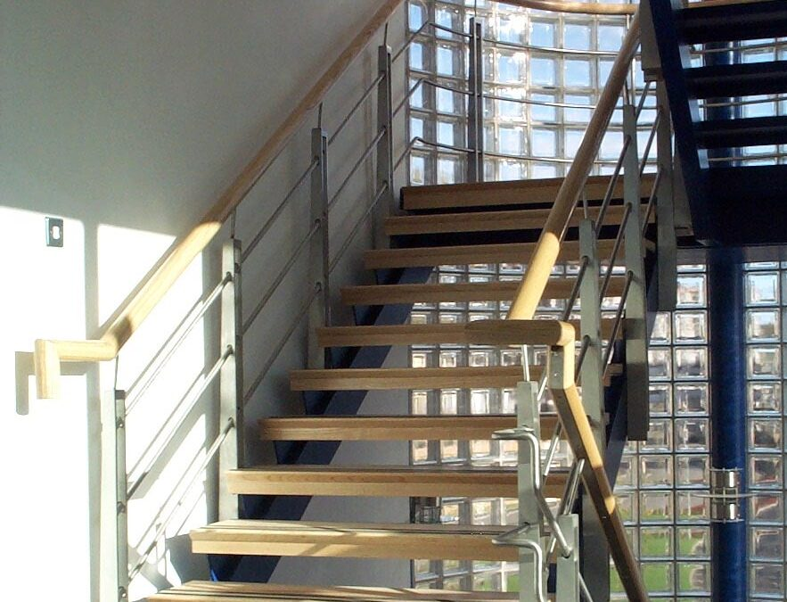 Blake group metal and wood staircase for BAM Construction office development