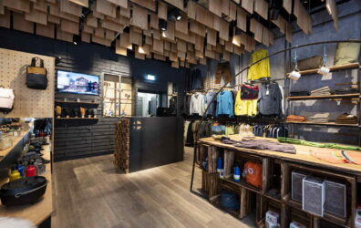 Interior of Nordic Outdoor, Edinburgh St James Quarter. Metal archway and cash desk cladding by Blake Group